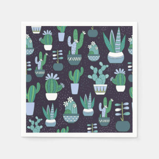 Cute sketchy illustration of cactus pattern paper napkins