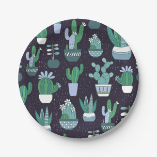 Cute sketchy illustration of cactus pattern paper plate
