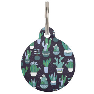 Cute sketchy illustration of cactus pattern pet tag