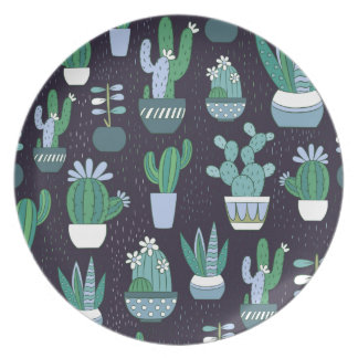 Cute sketchy illustration of cactus pattern plate