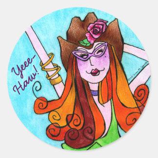 Cute Skinny Texas Cowgirl YeeHaw Classic Round Sticker