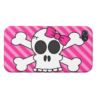 Cute Skull and Crossbones Pink Stripes iPhone 4/4S Cases