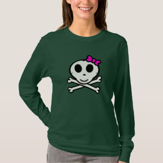 Cute Skull and Crossbones With Pink Bow T-Shirt