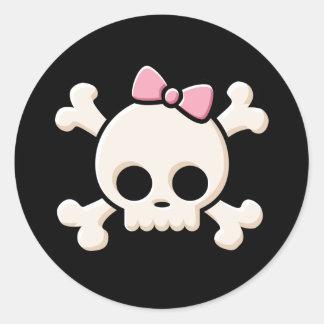 Cute Skull Girl Black Round Sticker