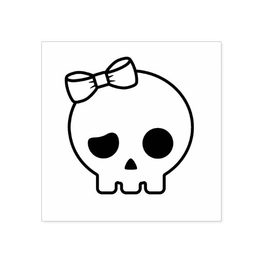 Cute Skull with a Bow Rubber Stamp