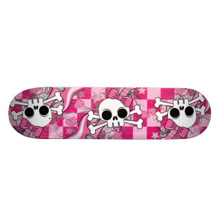 Cute Skull with Pink Guitar Custom Skateboard
