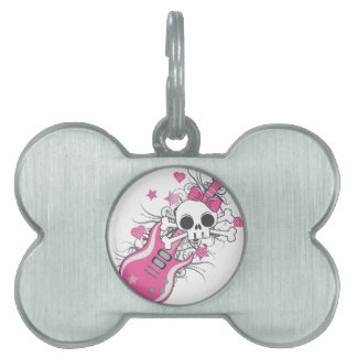 Cute Skull with Pink Guitar Pet Tag