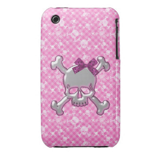 Cute Skull with Ribbon Pink iPhone 3 Case