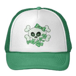 Cute Skull with Shamrocks Trucker Hats