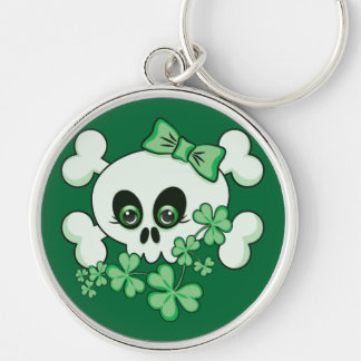 Cute Skull with Shamrocks Silver-Colored Round Keychain