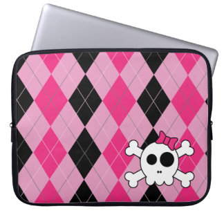 Cute Skully and Argyle Laptop Sleeve