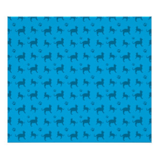 Cute sky blue cats and paws pattern posters