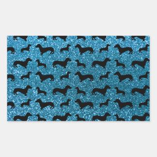 Cute sky blue dachshund glitter pattern rectangle stickers