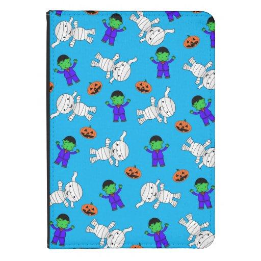 Cute sky blue Frankenstein mummy pumpkins Kindle Case