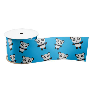Cute sky blue panda pattern satin ribbon
