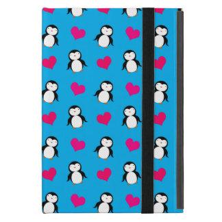Cute sky blue penguin hearts pattern iPad mini case