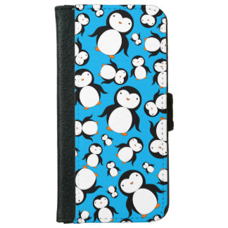 Cute sky blue penguin pattern iPhone 6 wallet case