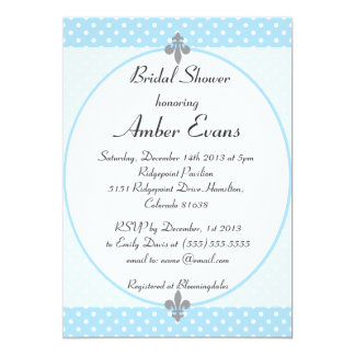 Cute Sky Blue Polka Dots Bridal Shower Invitation