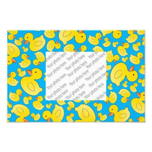 Cute sky blue rubber ducks photo print