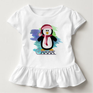 Cute Sled Penguin Abstract Toddler T-shirt