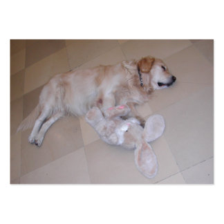 Cute Sleeping Golden Retriever  With Toy Rabbit Large Business Card