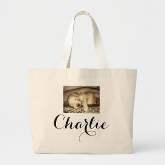 Cute sleeping GoldenDoodle Puppy Photo Large Tote Bag