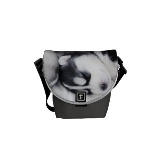 cute sleeping husky pups bag messenger bag