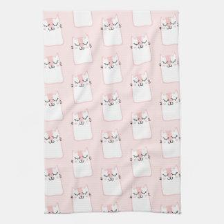 Cute Sleeping Kitty Cat Pattern Kitchen Towel
