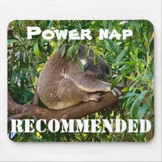 Cute sleeping koala recommends a power nap mouse pad