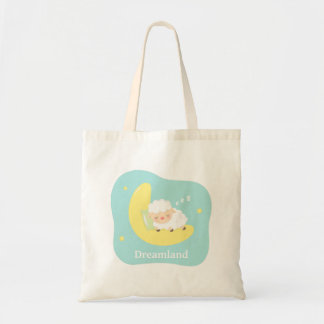 Cute Sleeping Little Lamb on the Moon For Kids Tote Bag