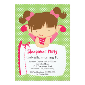 "CUTE Sleepover Birthday Party Inviation 5"" X 7"" Invitation Card"