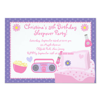Cute Sleepover Birthday Party Invitations