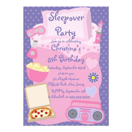 Cute Sleepover Birthday Party Invitations