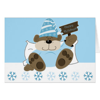 Cute Sleepy Bear Holiday Christmas Card