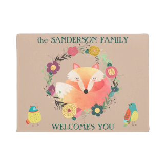 Cute Sleepy Fox in Floral Wreath Doormat