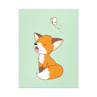 Cute Sleepy Little Fox Canvas Print