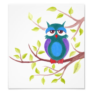 Cute sleepy owl on a tree cartoon Photo print