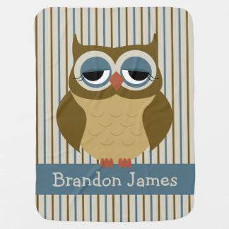Cute Sleepy Owl Personalized Baby Blanket
