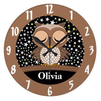 cute sleepy owl wall clocks