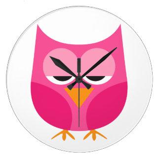 Cute Sleepy Pink Owl Clocks
