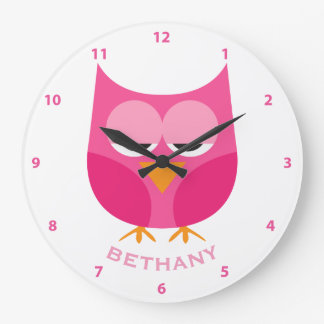Cute Sleepy Pink Owl Personalized With Numbers Clock