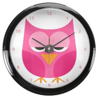 Cute Sleepy Pink Owl With Numbers Aqua Clock