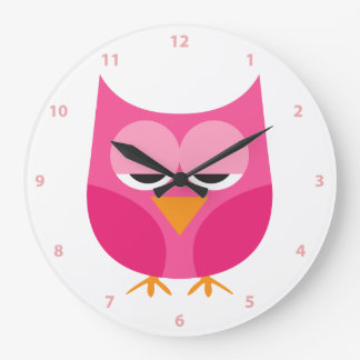 Cute Sleepy Pink Owl With Numbers Wall Clocks