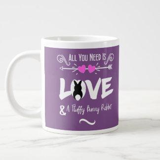 Cute Slogan Love & Fluffy Bunny Rabbit Theme Large Coffee Mug