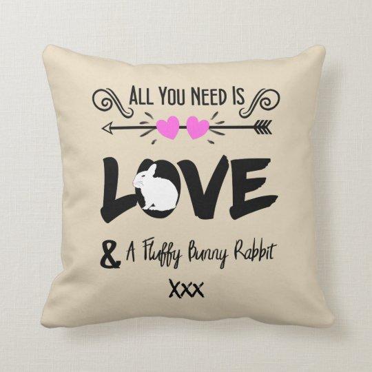 Cute Slogan Love & Fluffy Bunny Rabbit Theme Throw Pillow