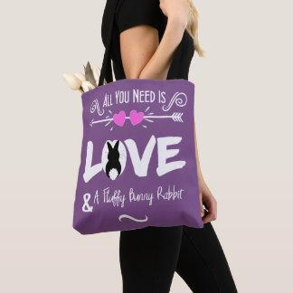 Cute Slogan Love & Fluffy Bunny Rabbit Theme Tote Bag