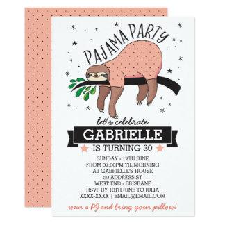 Cute Sloth Adult Pajama Party Invitation