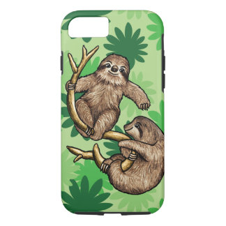 Cute Sloth and Cecropia Leaves iPhone 7 Case