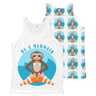 Cute Sloth Be a Mermaid All-Over-Print Tank Top