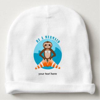 Cute Sloth Be a Mermaid Baby Beanie